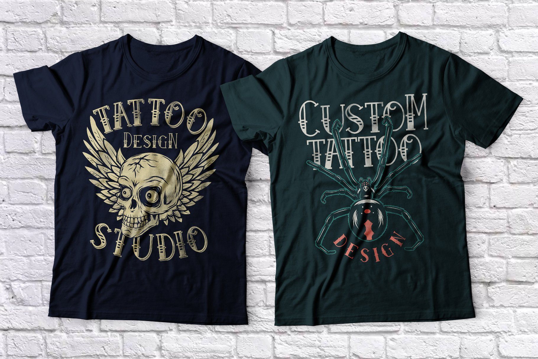 T-shirts featuring a spider and a skull with wings.