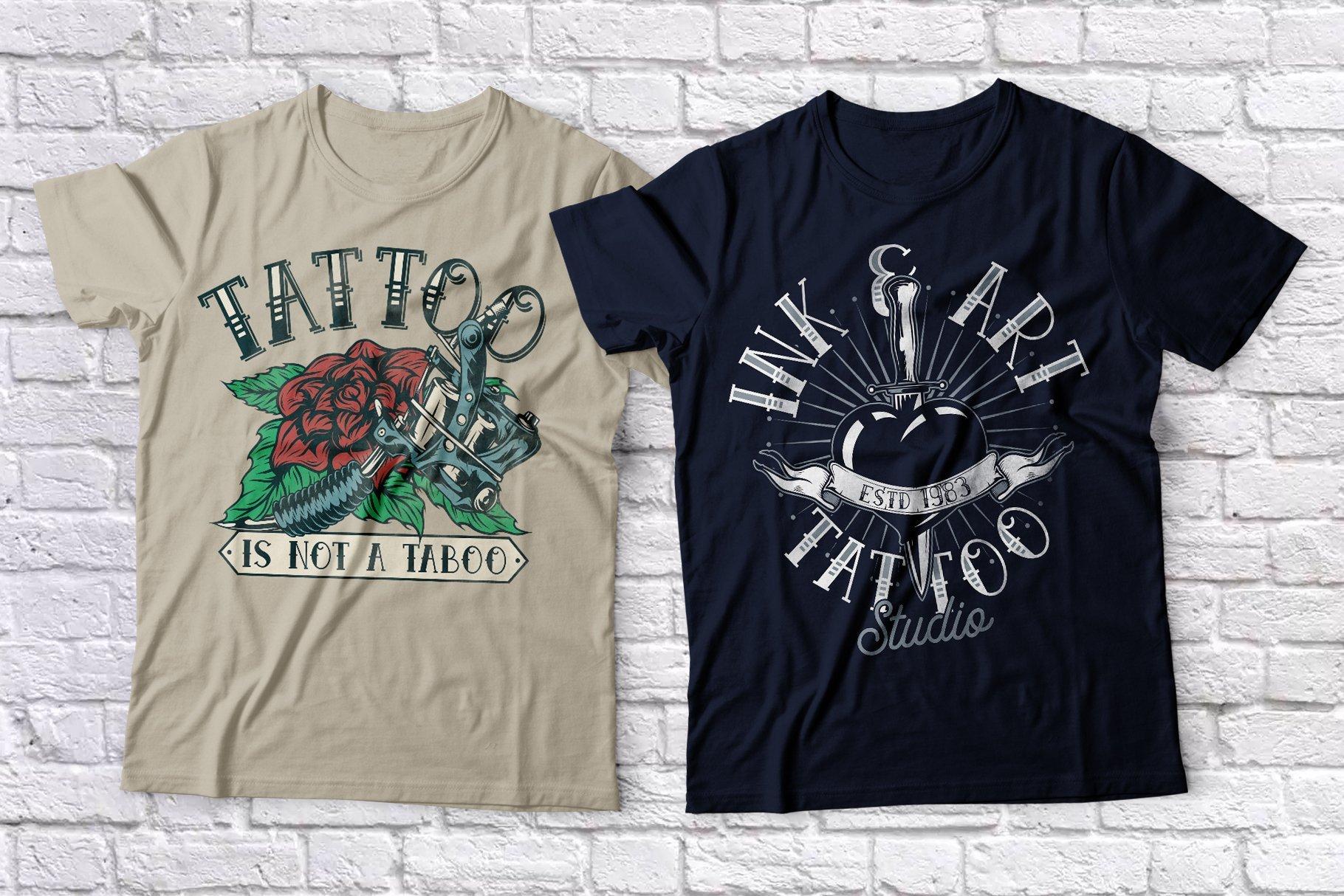 Purely tattooed T-shirts.