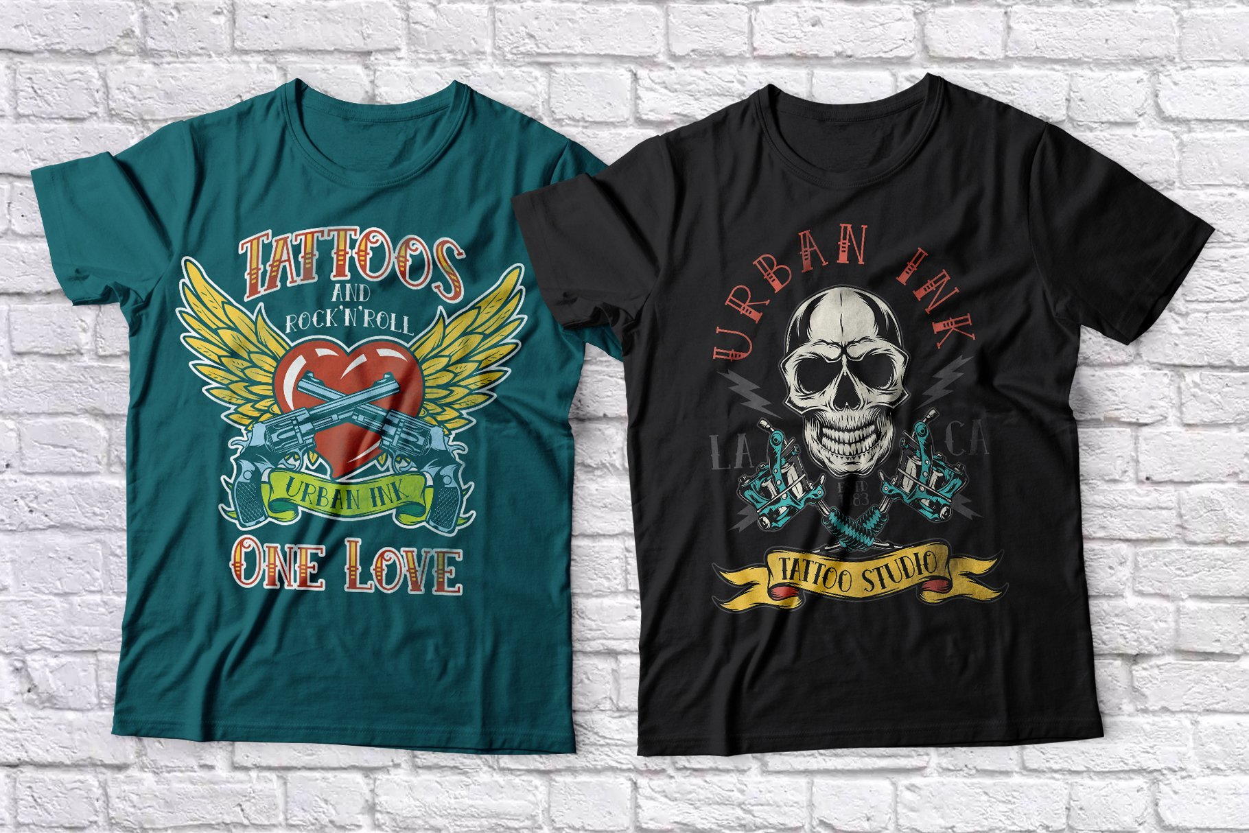 The T-shirts feature a skull and heart with guns.