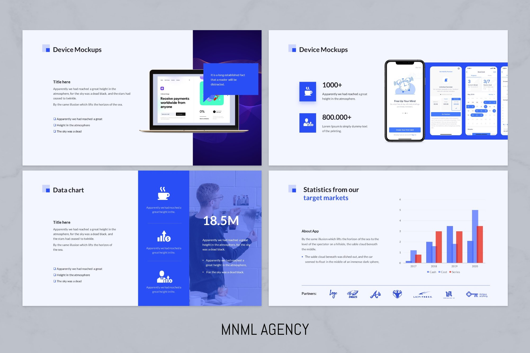 Device mockups and statistic charts.