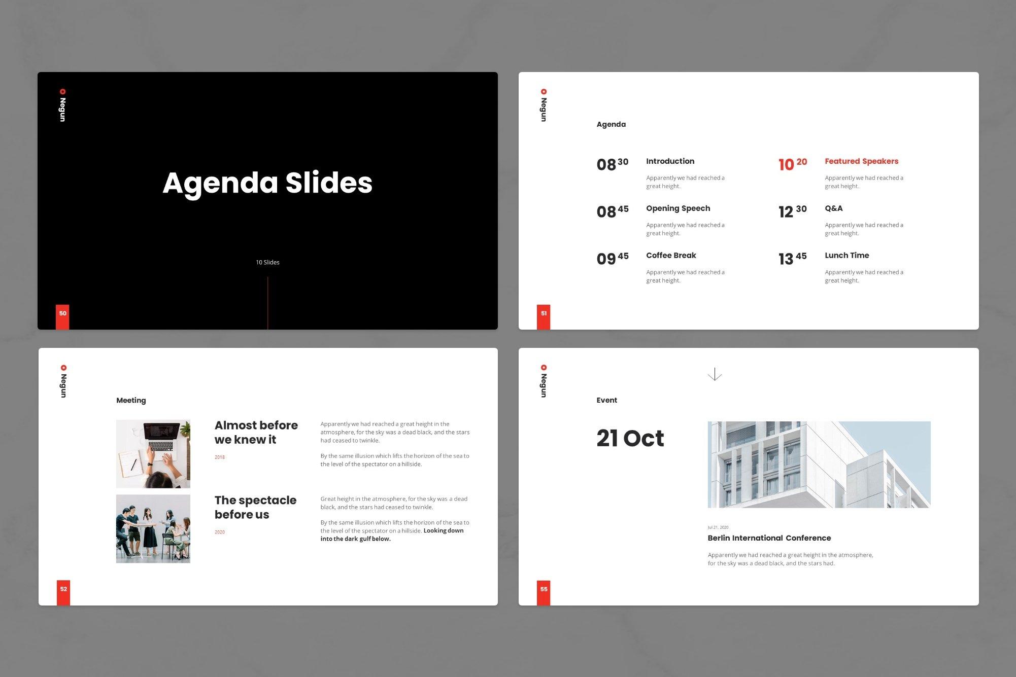 Agenda slides.
