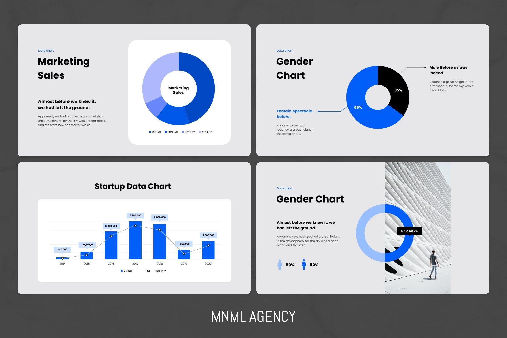 You can choose any type of chart and customize its color palette for yourself.