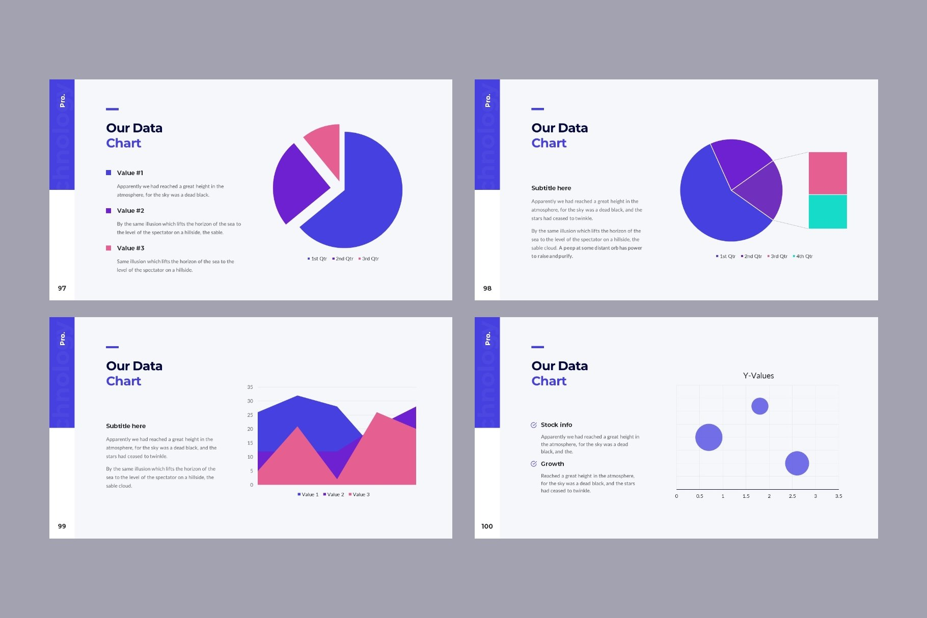 Pie diagrams in different colors.