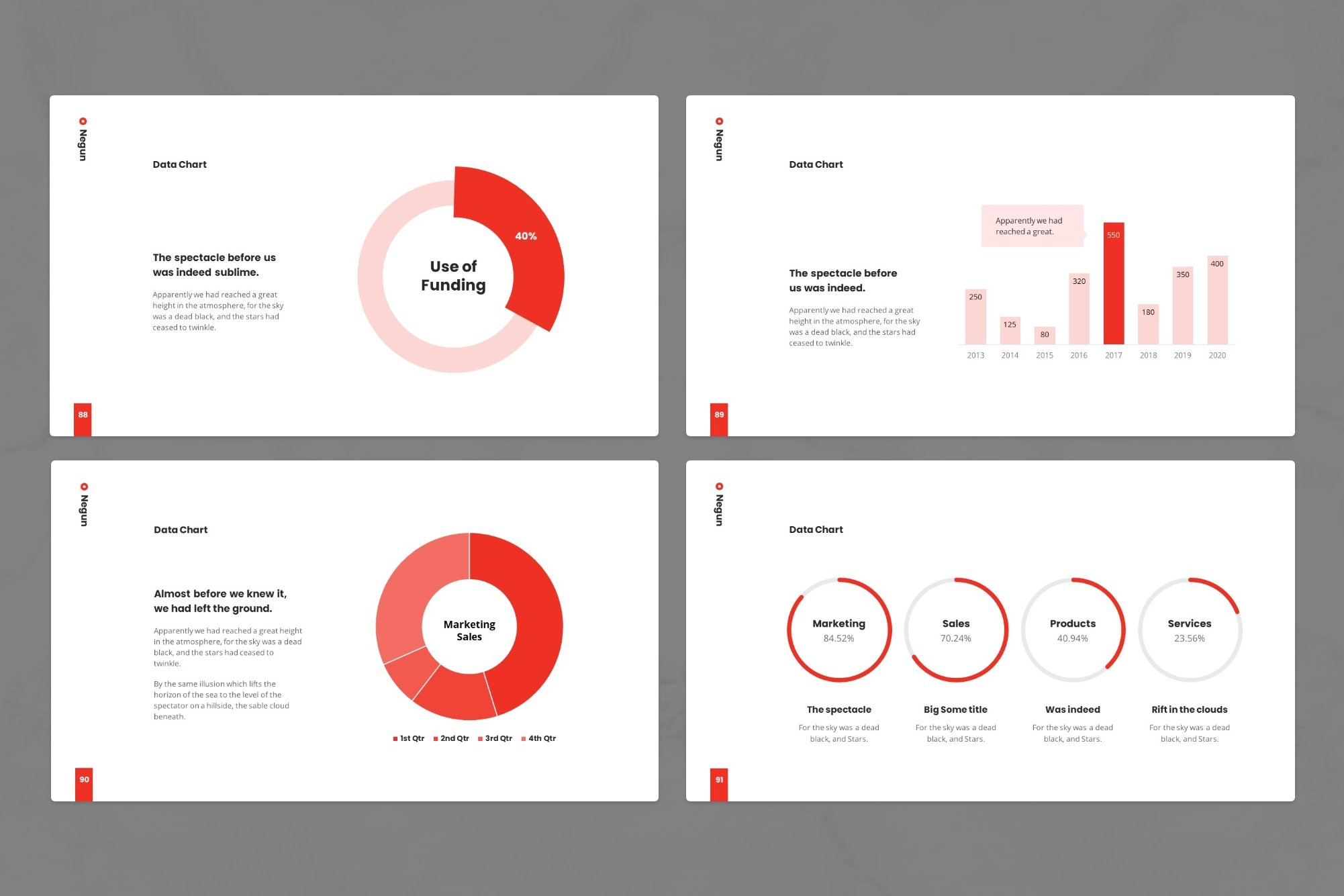 Circular infographics with red lines.