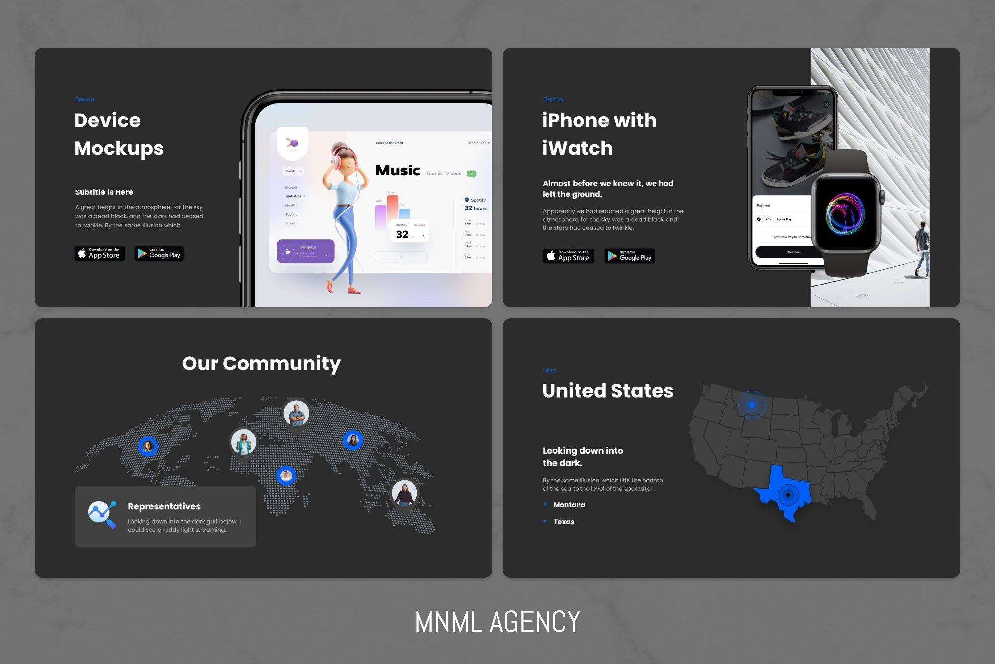 Device mockups and company community.