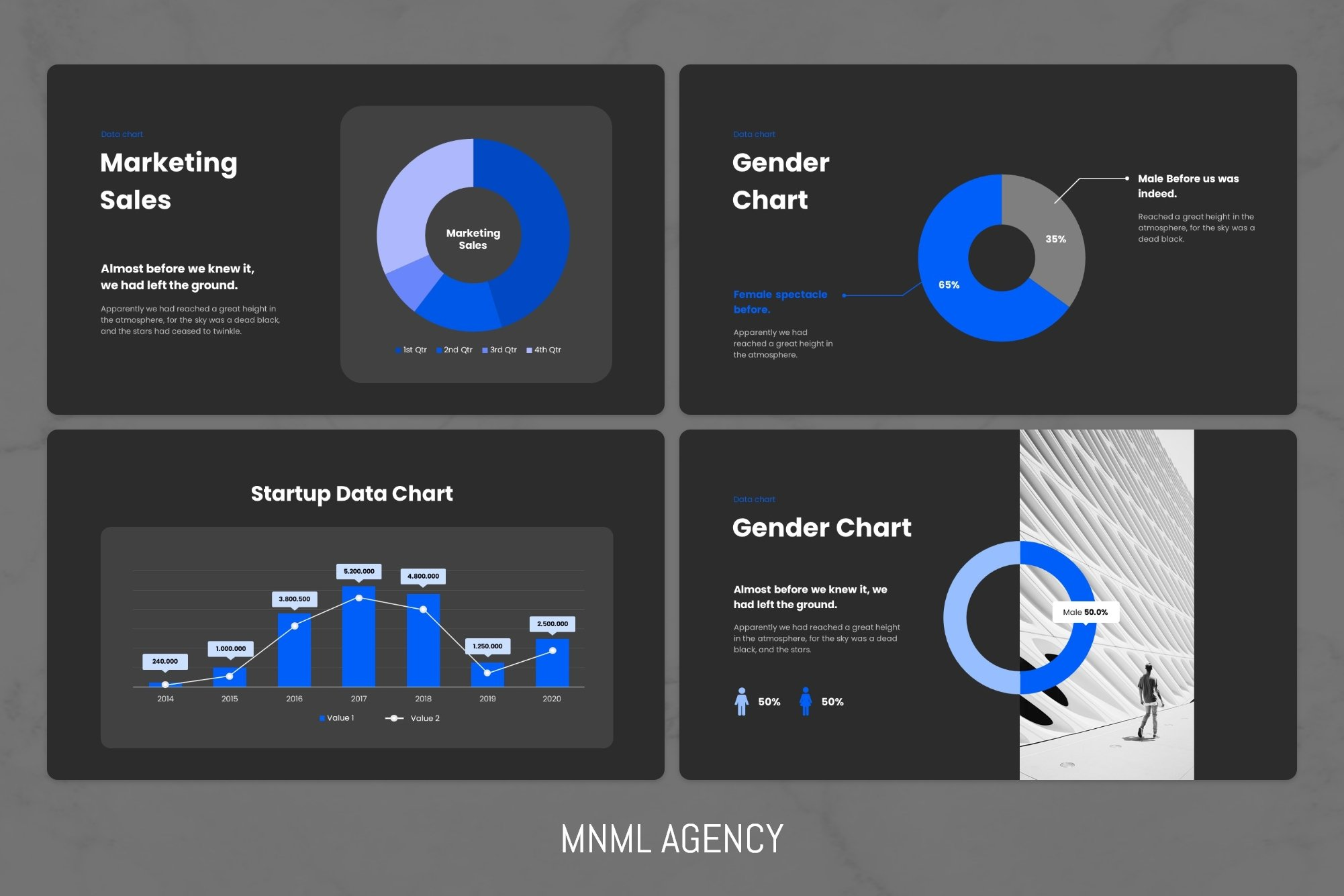 Charts and infographics.