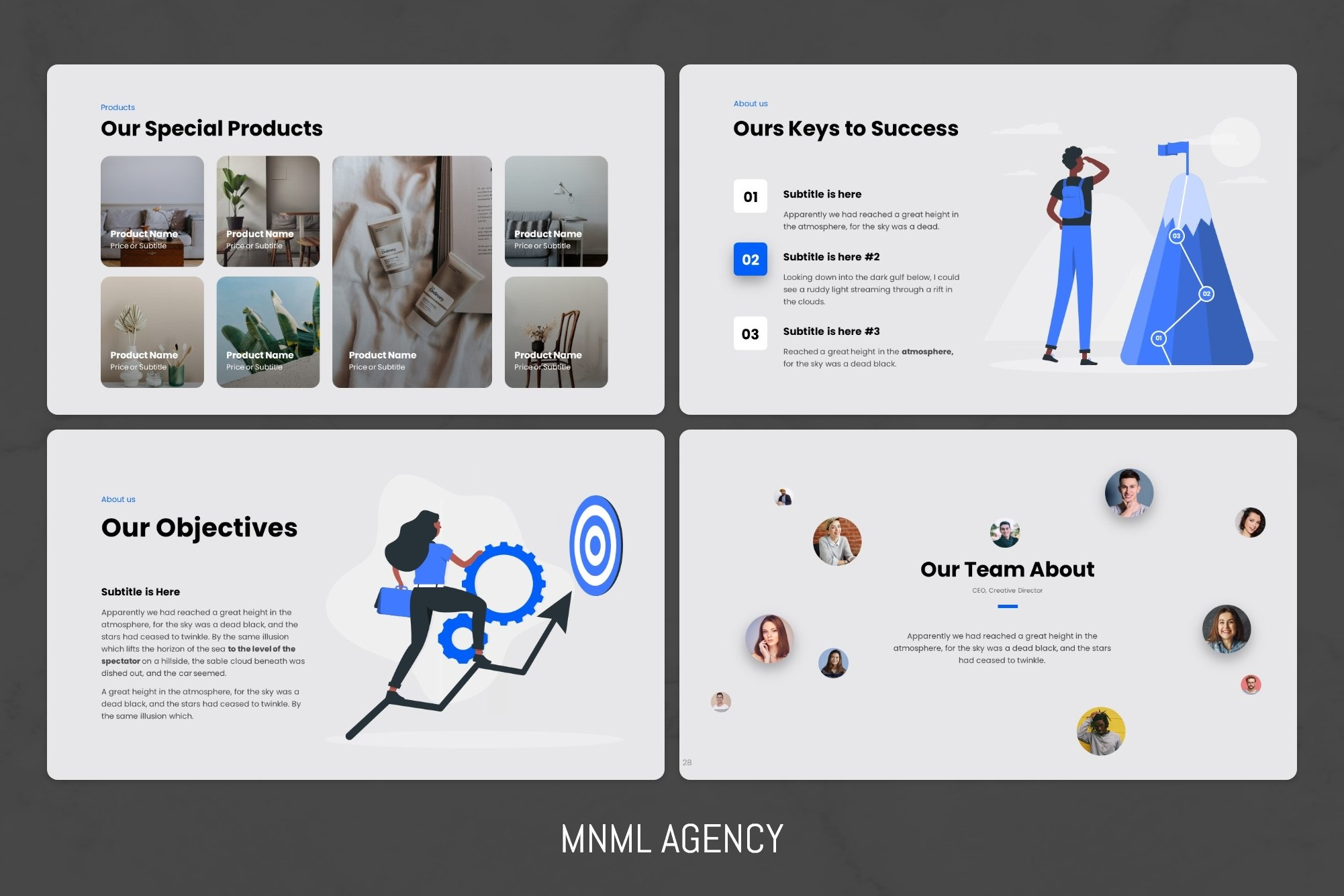 Modern graphics de-individualize a little, which makes the template more versatile.