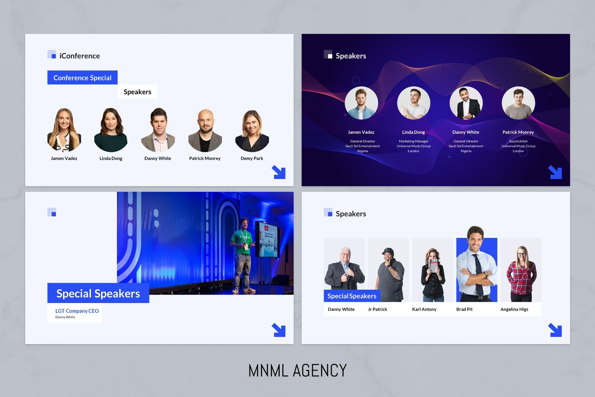 The template design provides an opportunity to demonstrate speakers in three versions.