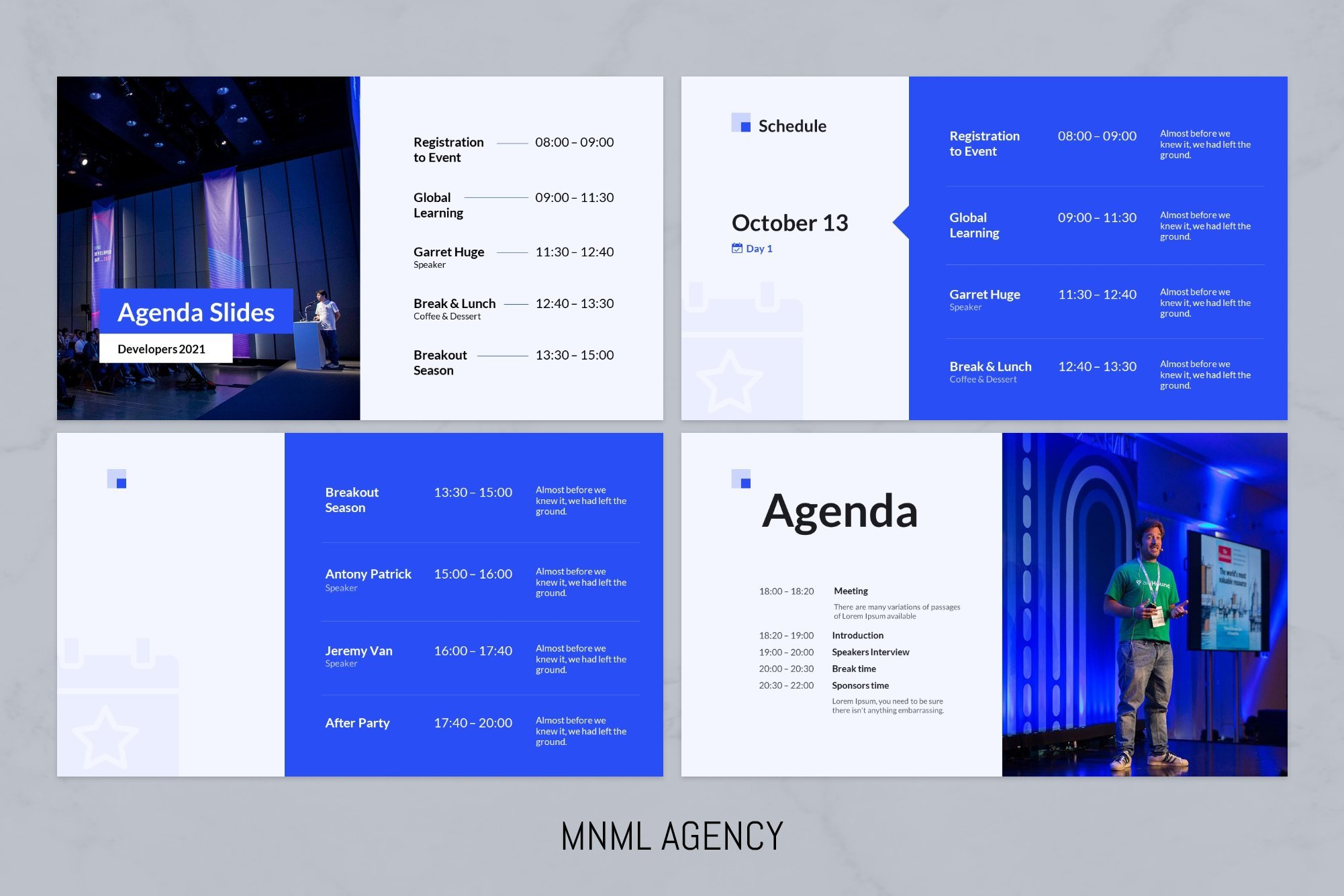 Agenda slides with detailed process during conference.