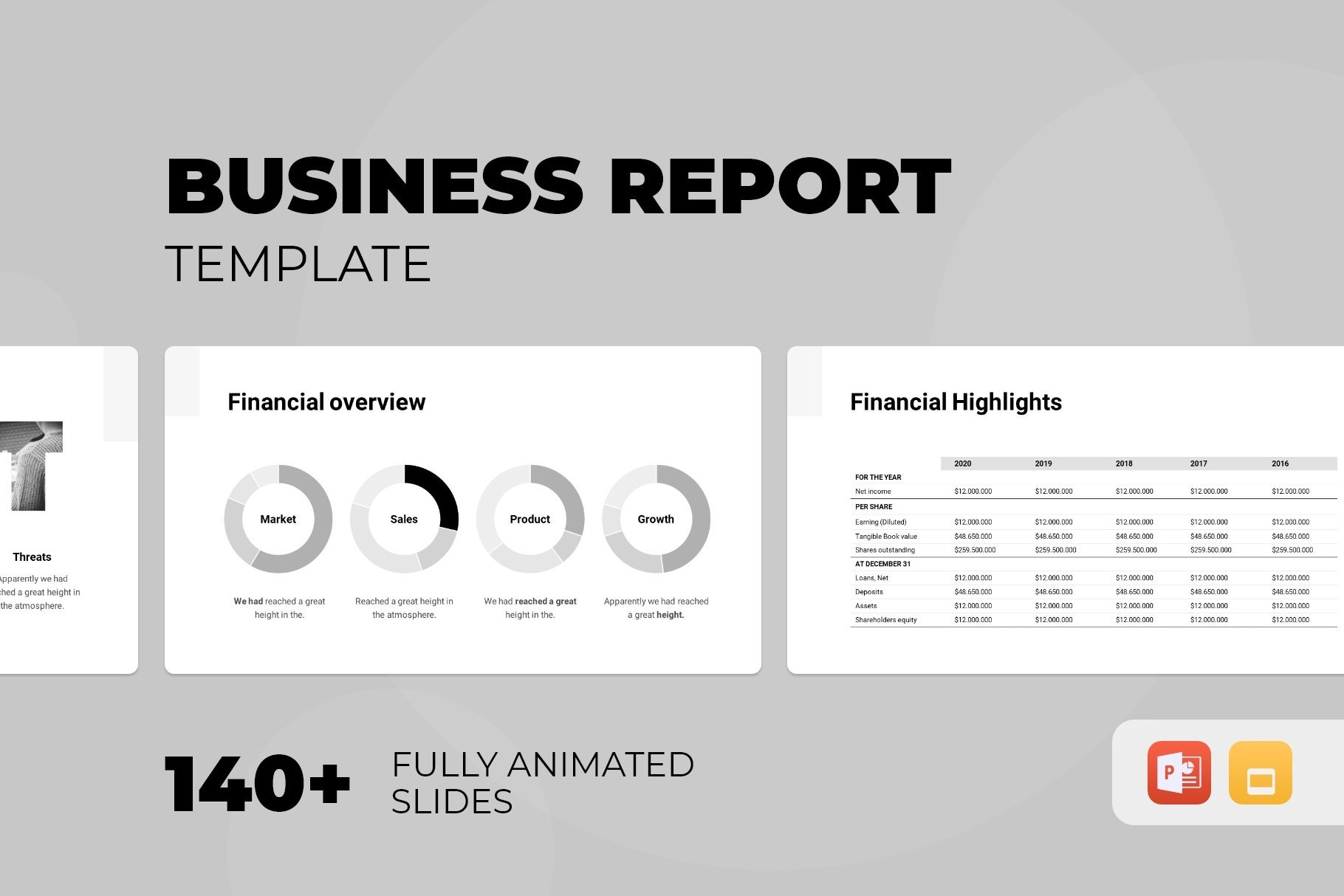 View of business report template.