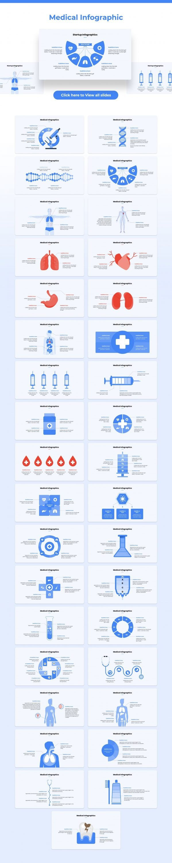 The last one - medical infographic in blue. This infographic features illustrative thematic drawings and elements.