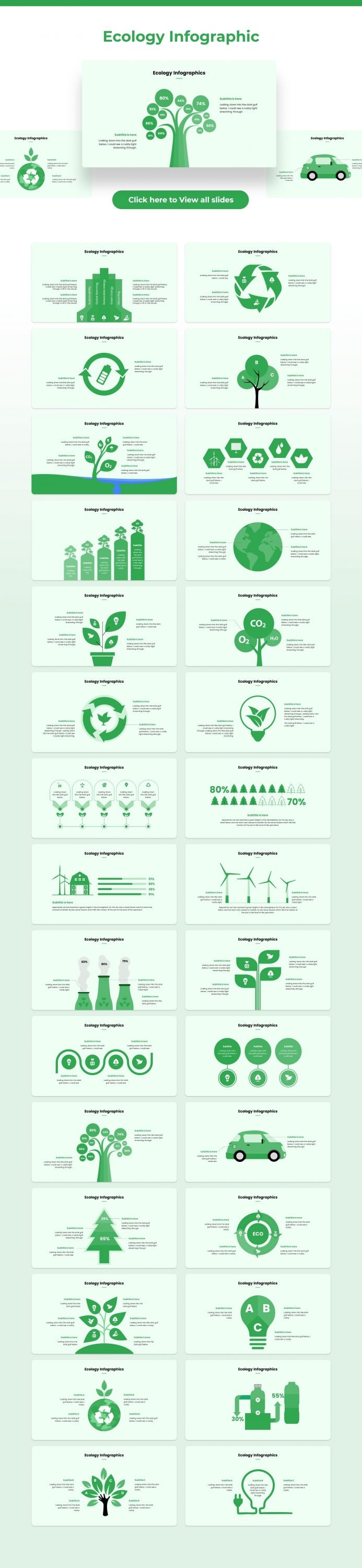 There is ecological infographic in green color with many elements.