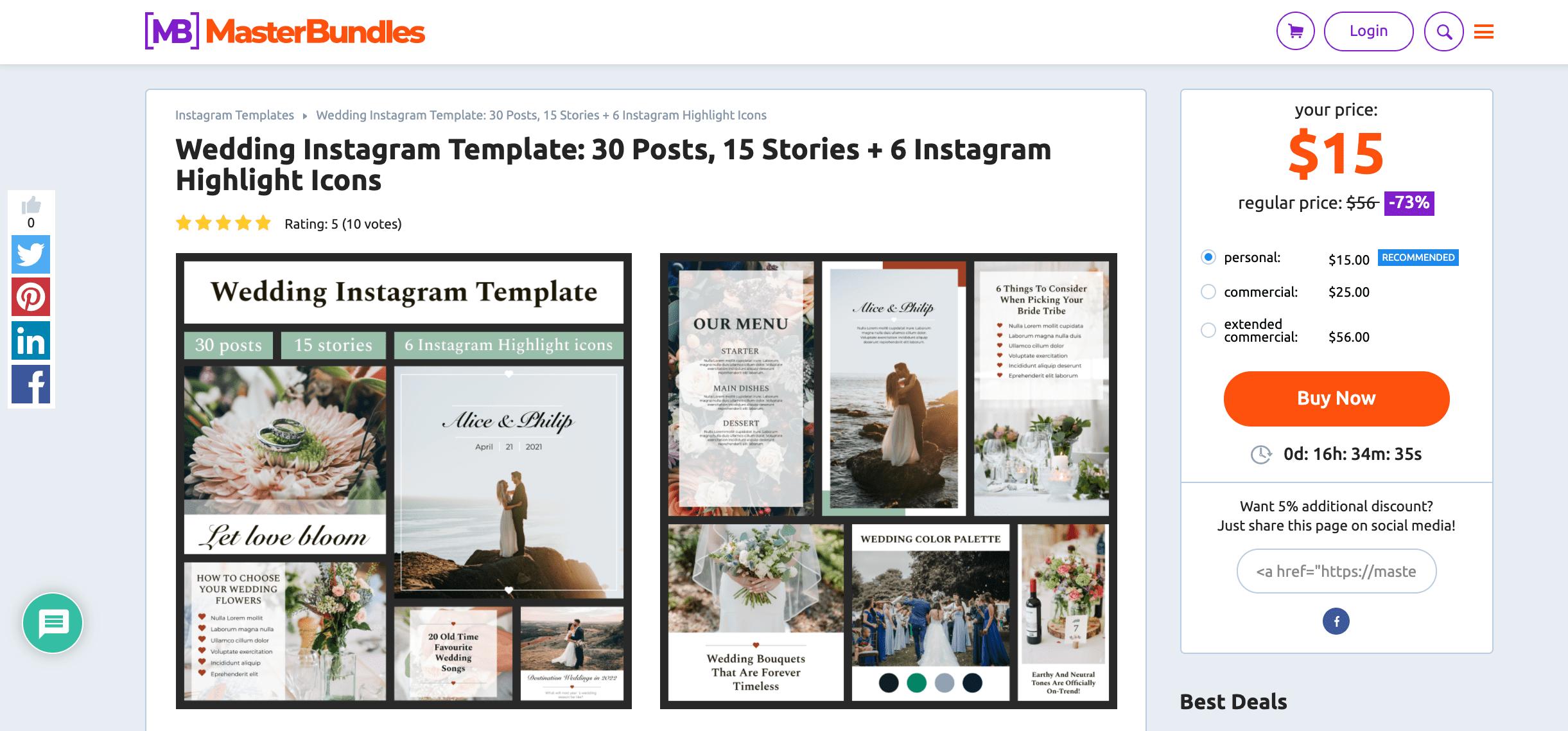 MasterBundles Wedding Instagram Template. Site Screenshot.