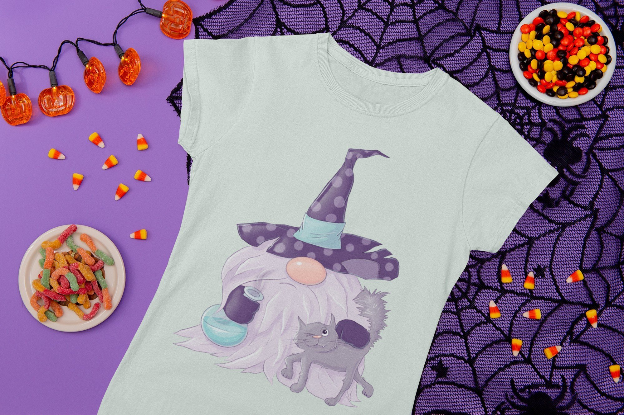 Mint T-shirt with a gnome. Nordic Gnomes Halloween Сharacters.