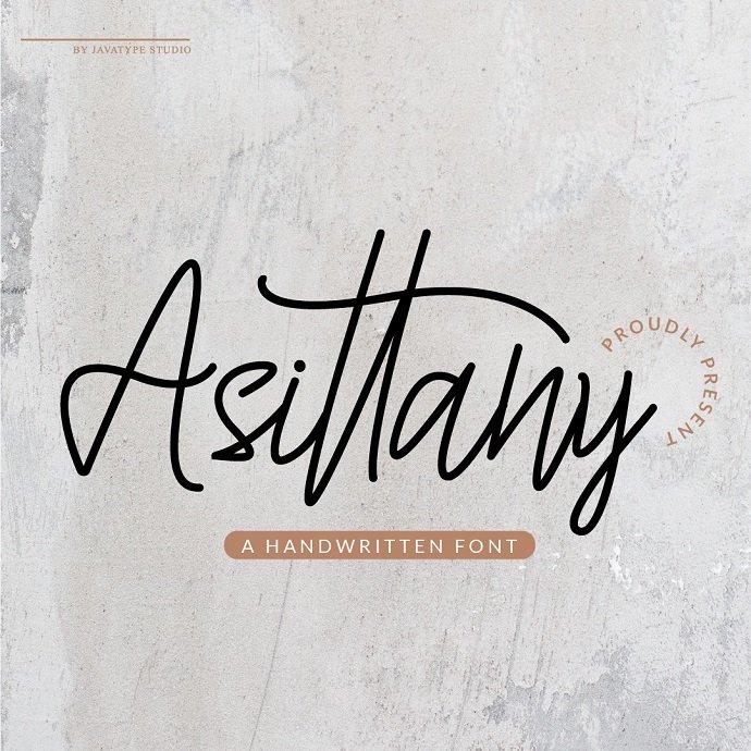 Assitany Script Monoline Font Example.