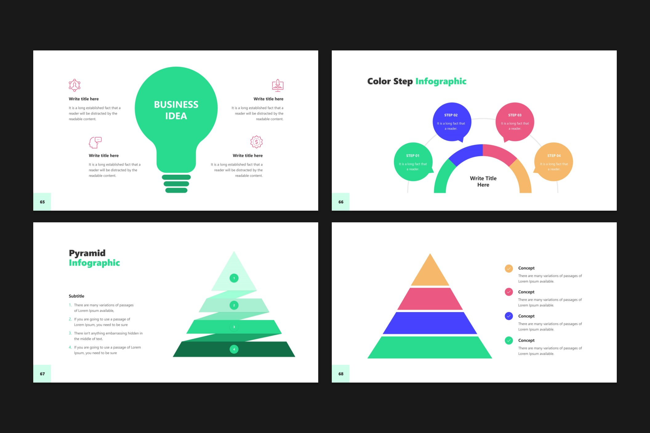 A large variety of infographics will help decorate your presentation.