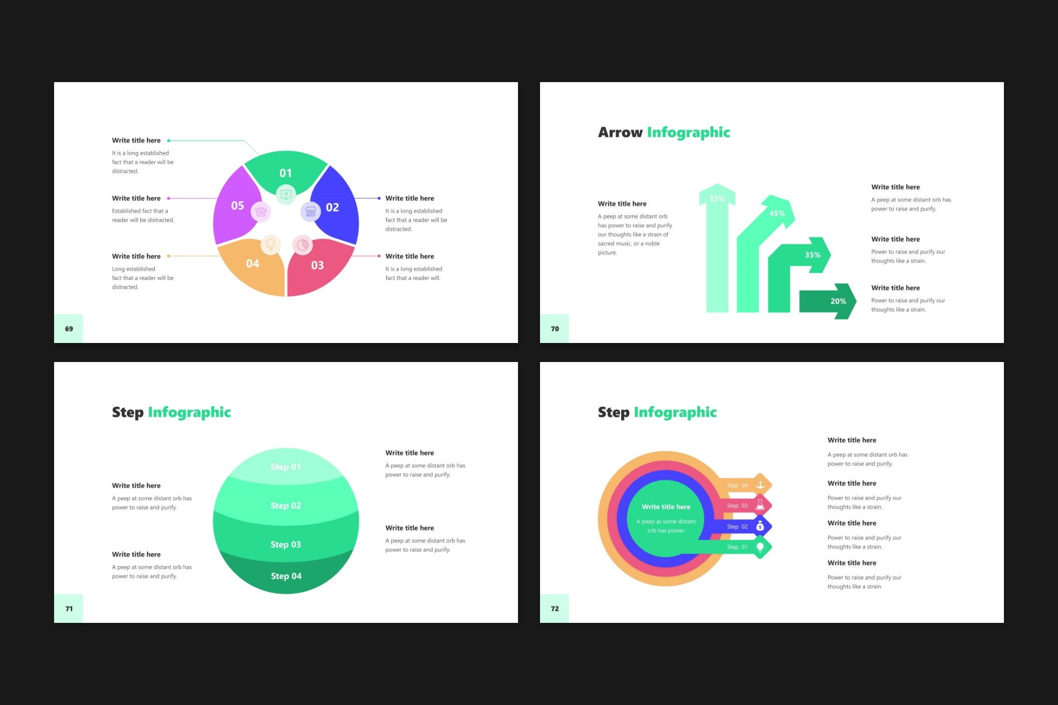 Moreover, the template provides different formats of infographics that will facilitate the delivery of information to the consumer.