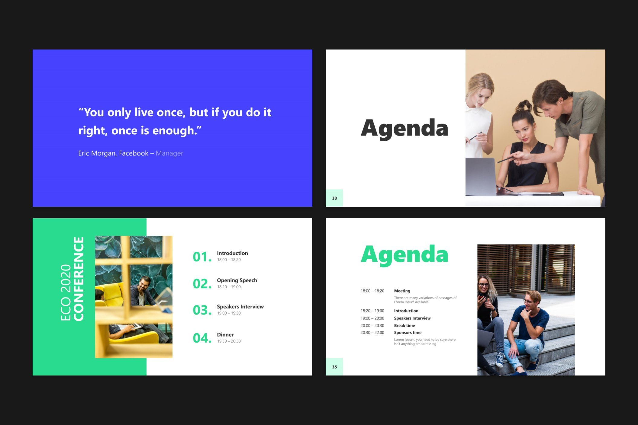 The daily plan can be painted in different formats. This template offers chronological timecode for the agenda.