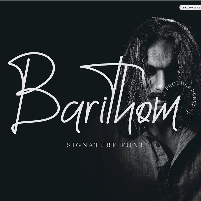 Barithom A Signature Monoline Font Example.