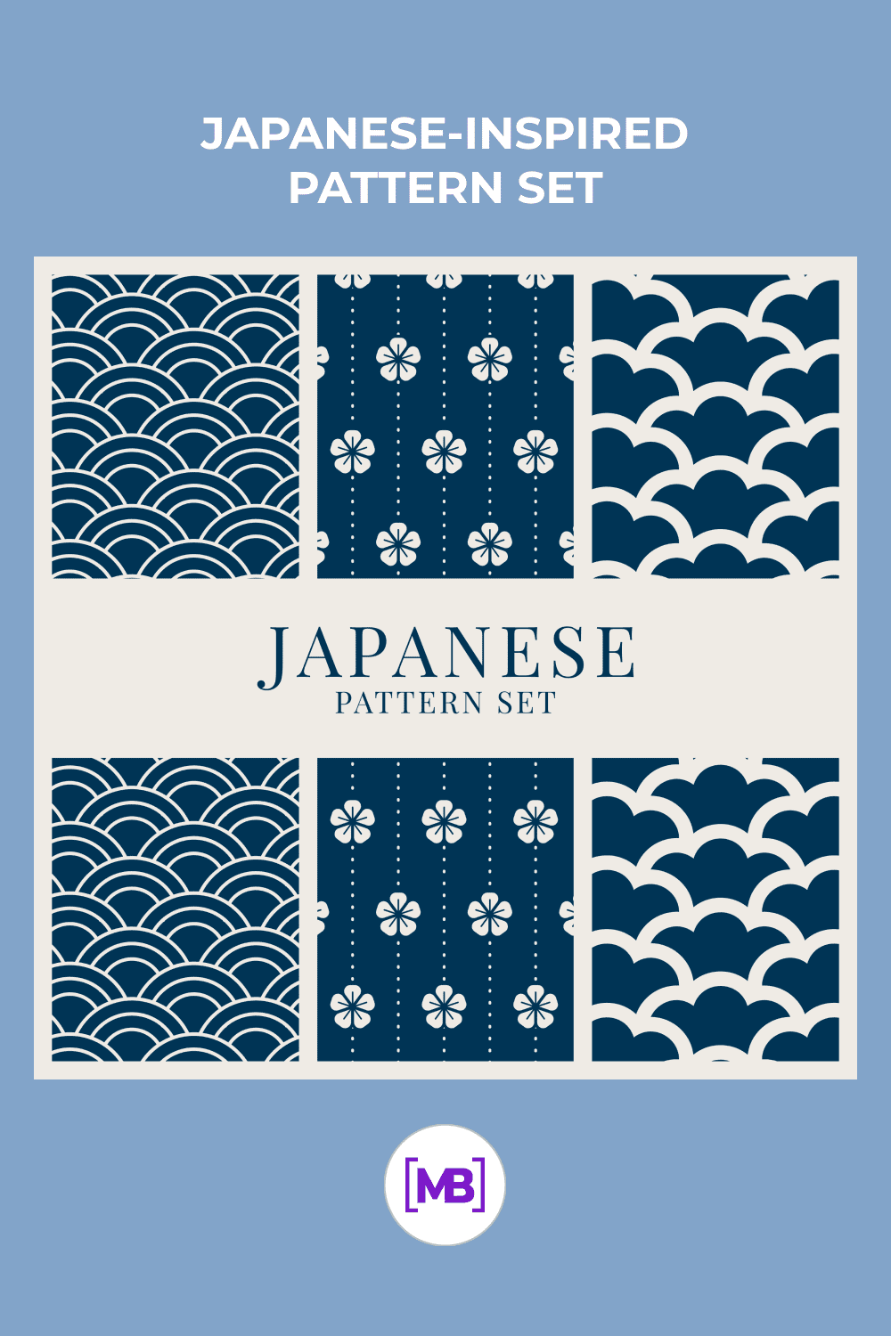 Japanese style in blue color with beautiful ornaments.