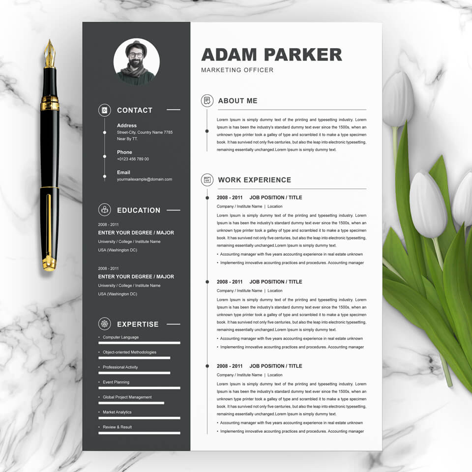 01 Clean Professional Creative and Modern Resume CV Curriculum Vitae Design Template MS Word Apple Pages PSD Free Download 3