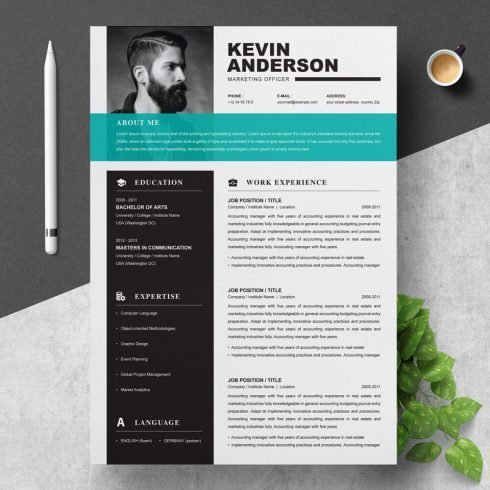 Professional Creative and Modern Resume CV Curriculum Vitae Design Template MS Word.