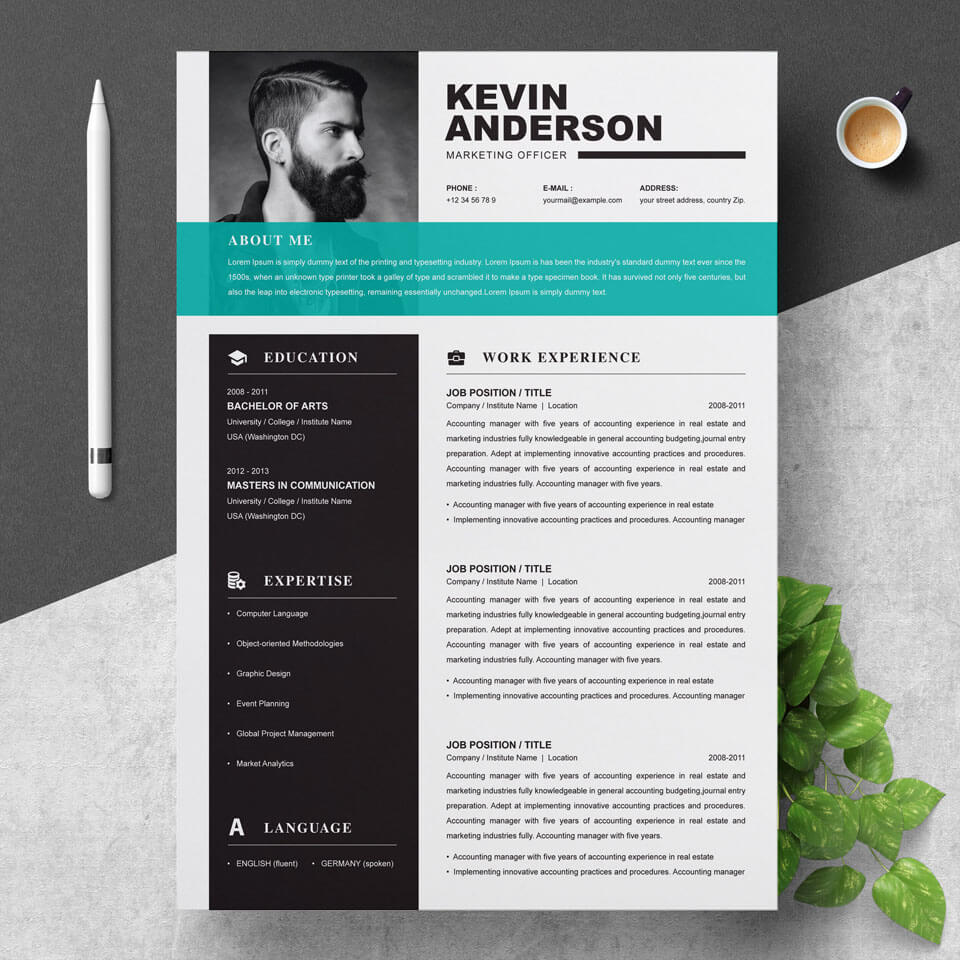 01 Clean Professional Creative and Modern Resume CV Curriculum Vitae Design Template MS Word Apple Pages PSD Free Download 5