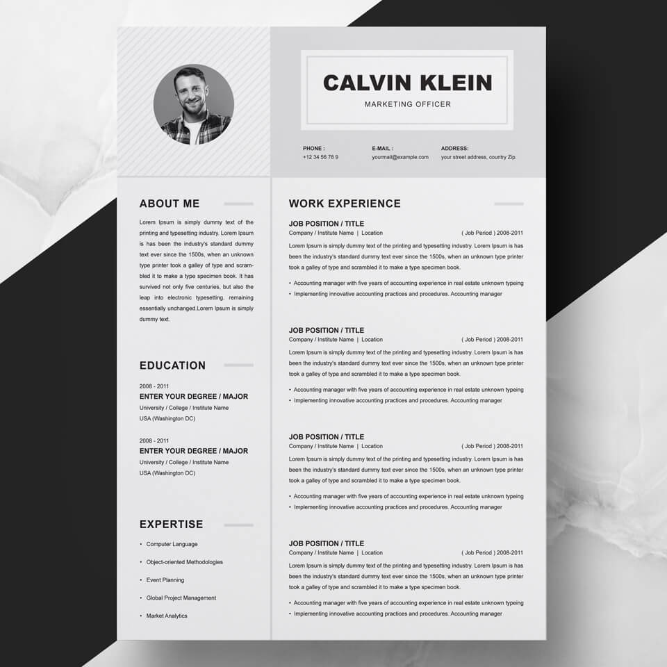 01 Clean Professional Creative and Modern Resume CV Curriculum Vitae Design Template MS Word Apple Pages PSD.
