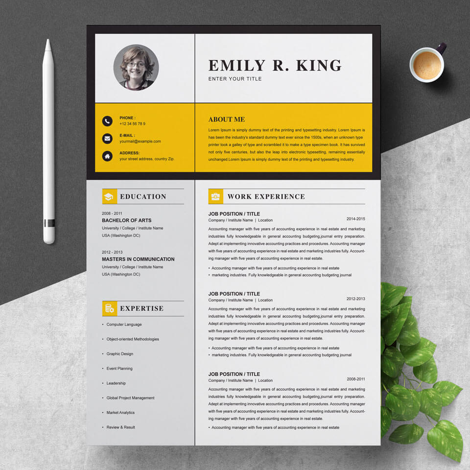 Clean Professional Creative and Modern Resume CV Curriculum Vitae Design Template MS Word Apple Pages PSD.