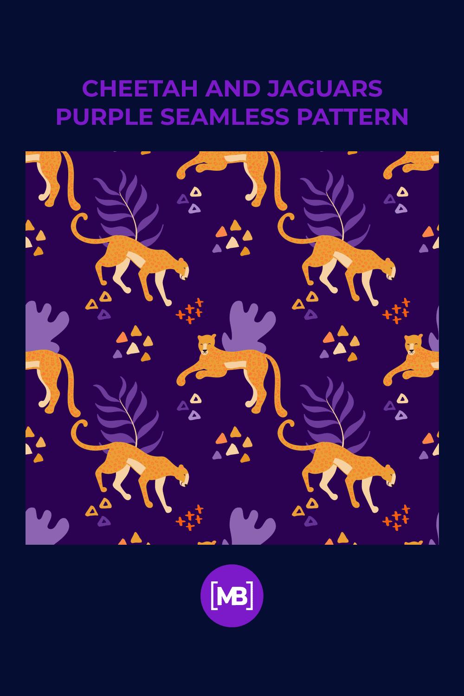Cheetah and Jaguars Purple Seamless Pattern.
