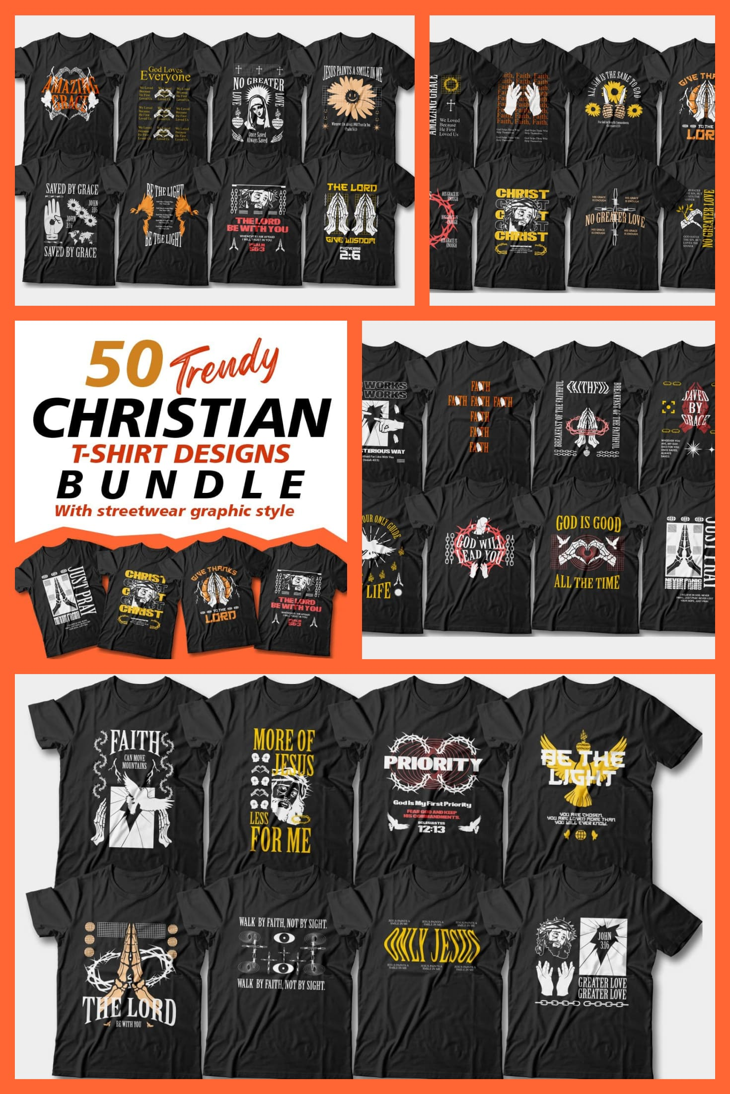 Christian T-shirt Designs with modern illustrations.