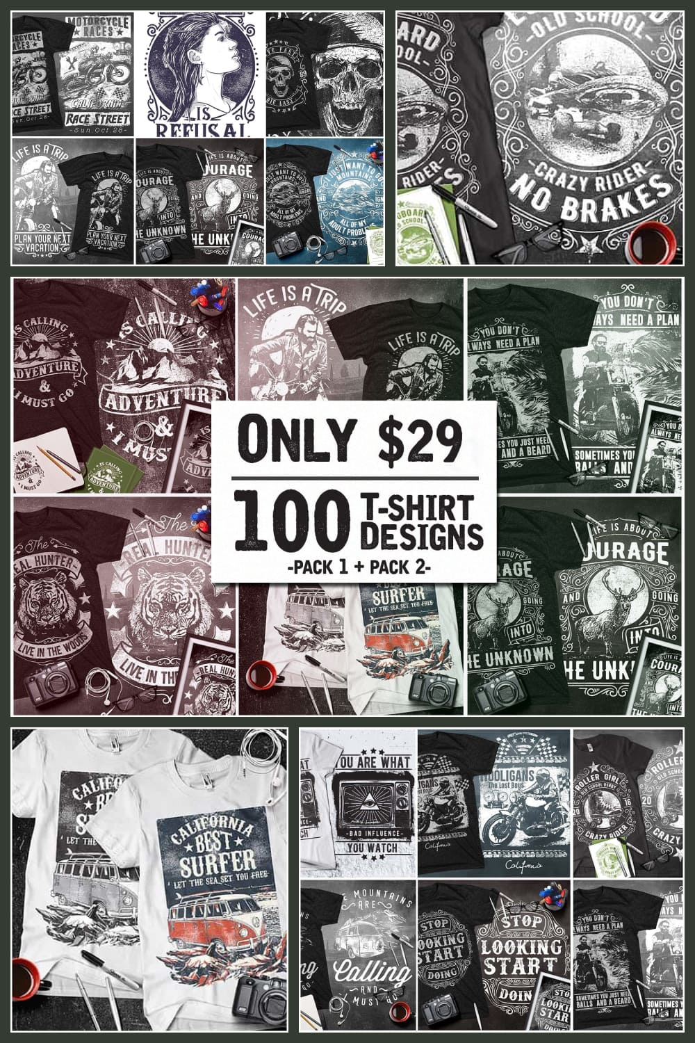 Huge collection of modern t-shirts.