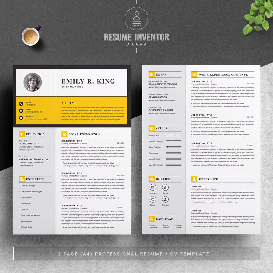 Two pages of this pattern.Resume Template / CV Template.