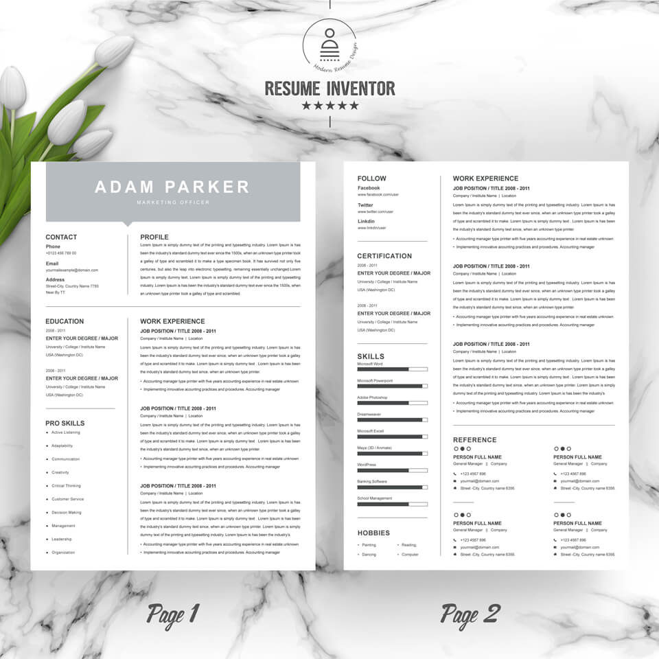 Two pages of this pattern. Marketing Officer Resume Template.