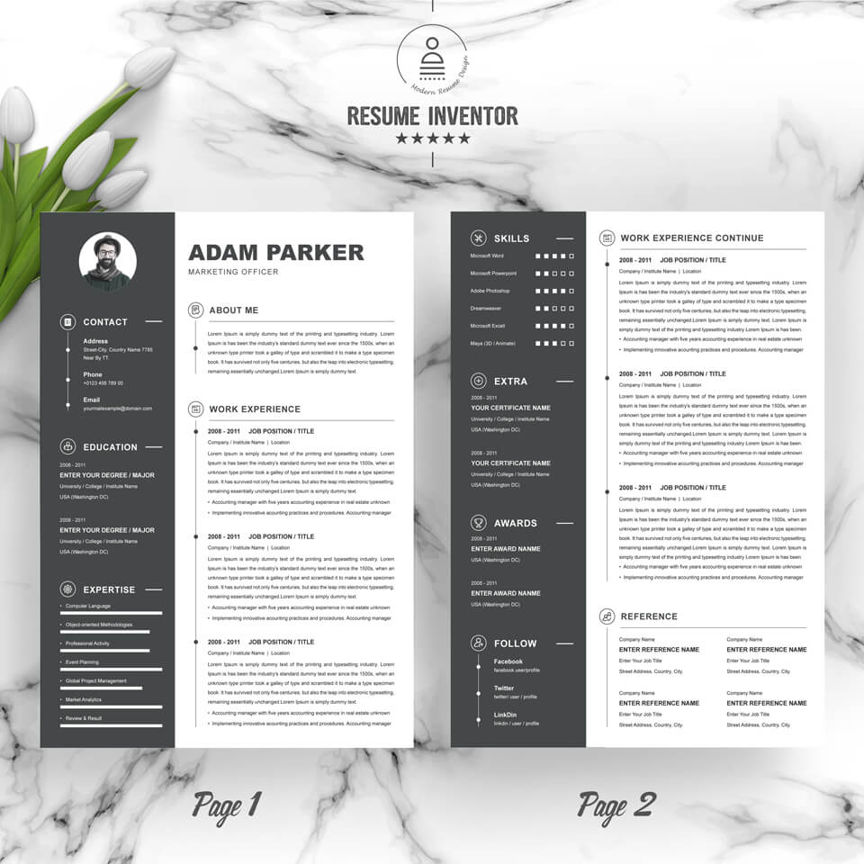 02 2 Pages Free Resume Design Template 2