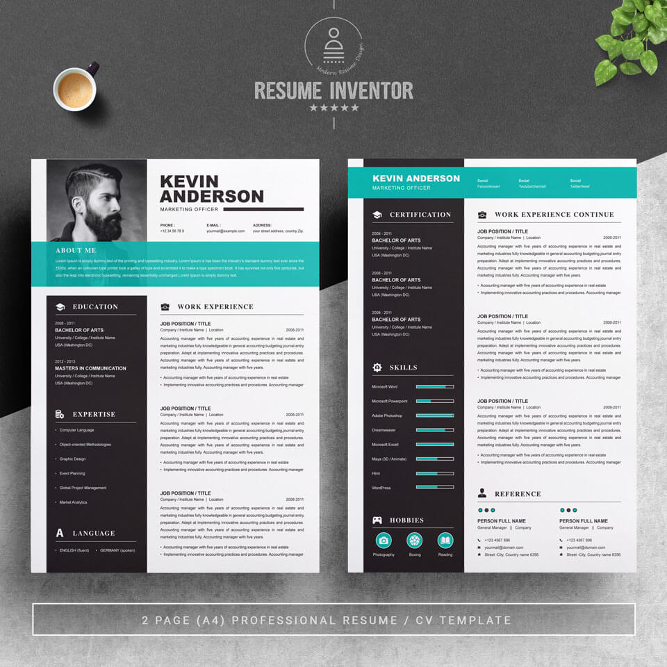 02 2 Pages Free Resume Design Template 4