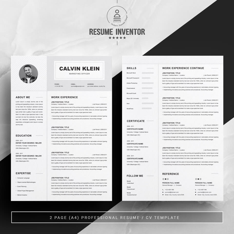Two pages of this pattern.Marketing Officer Resume Template.