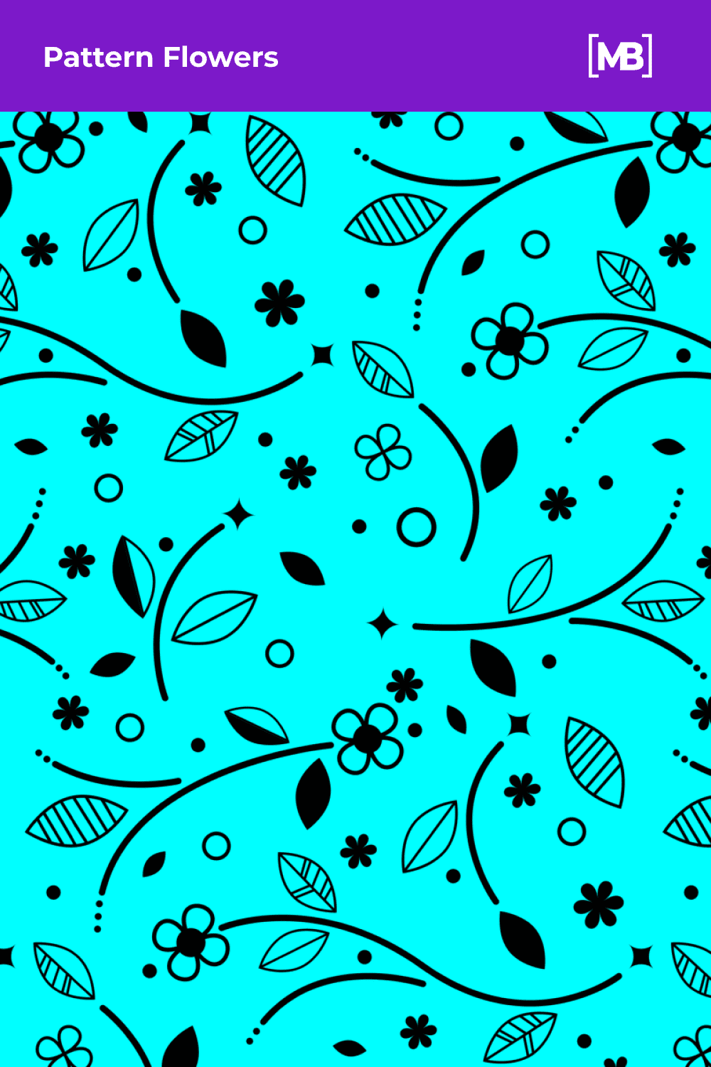 Flowers ornament in black color.