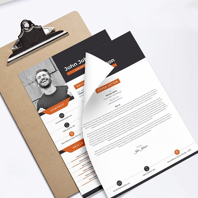 Two pages of this pattern. Creative Resume Template.