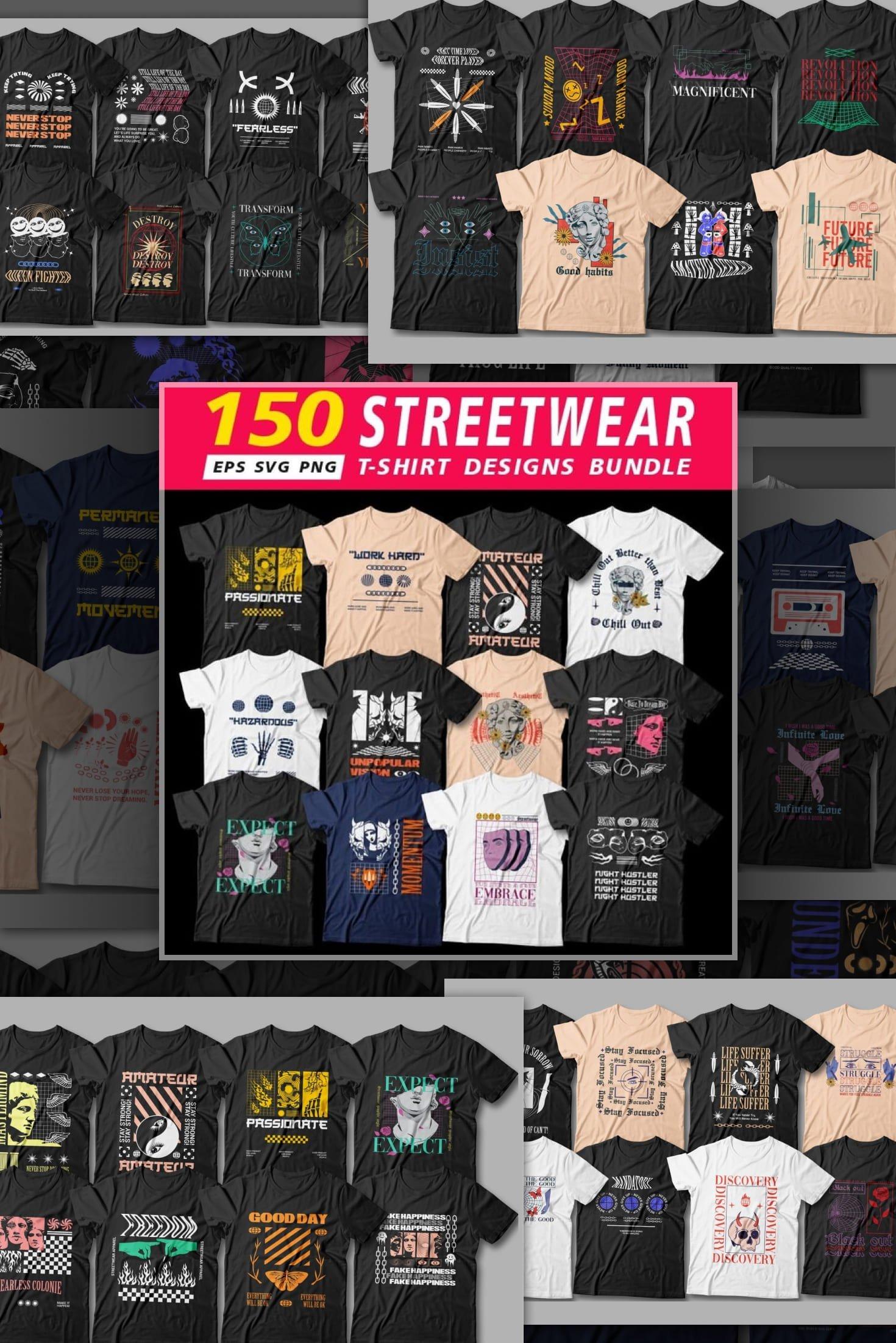 Contemporary t-shirt designs.