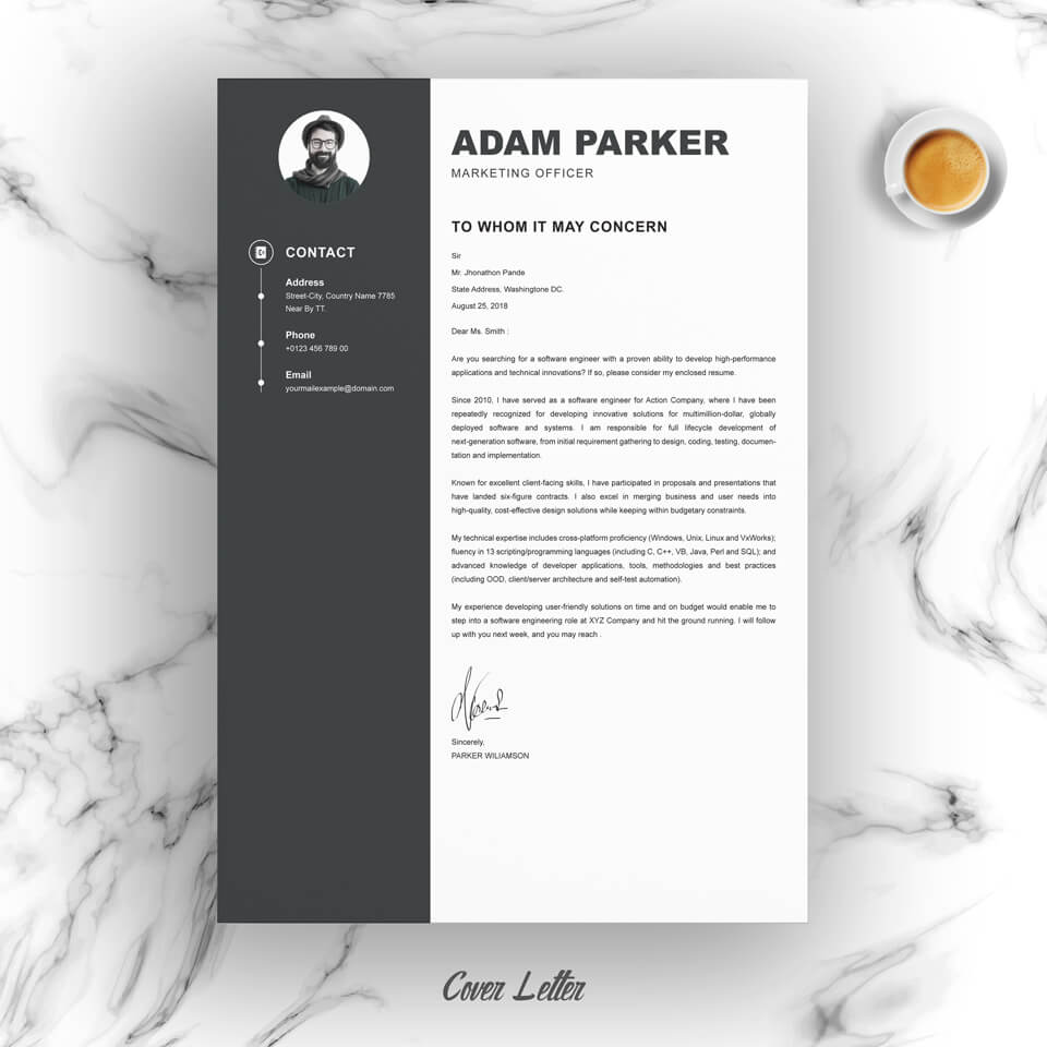 03 Resume Cover Letter Page Free Resume Design Template 1