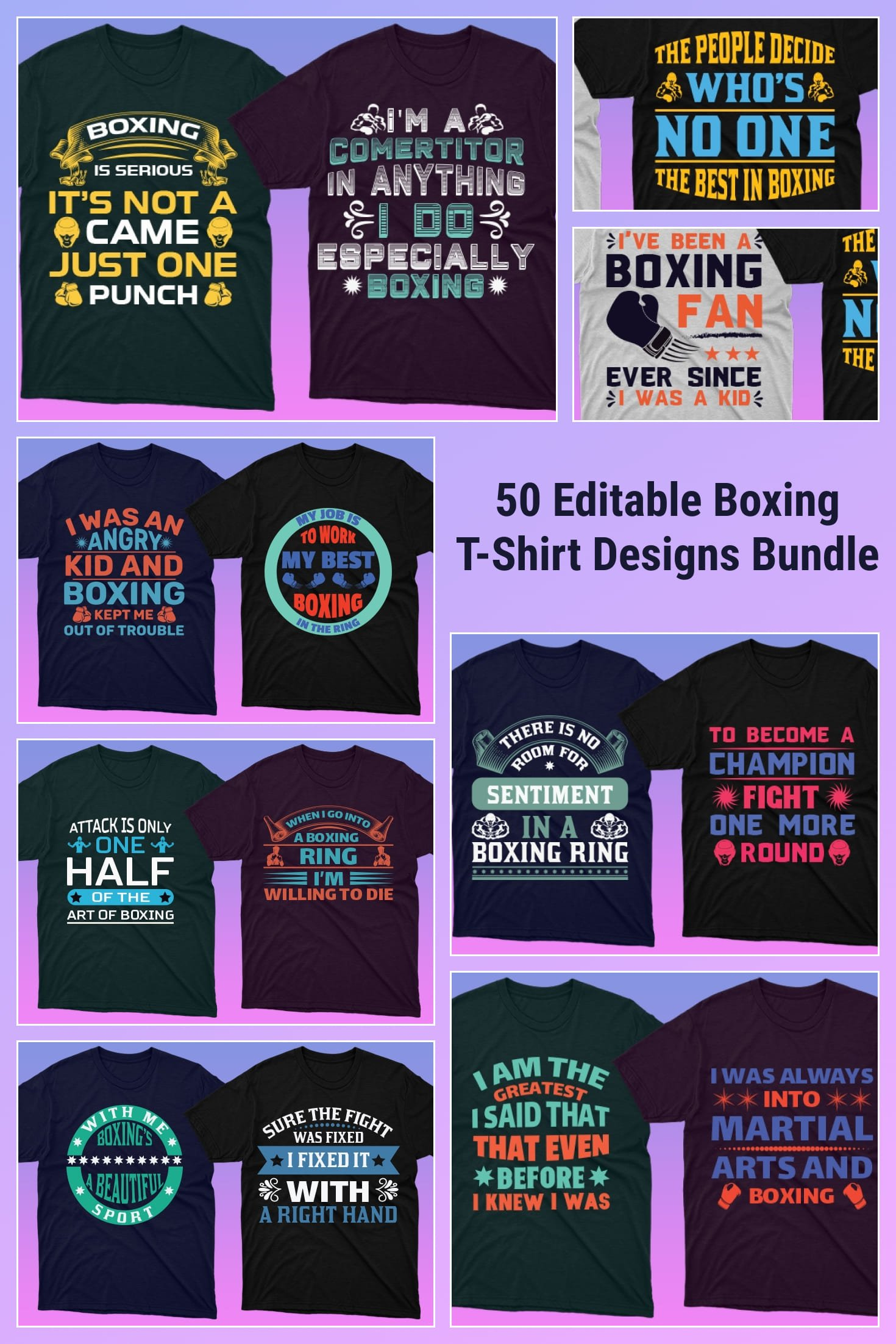 Themed t-shirts with colorful graphics.