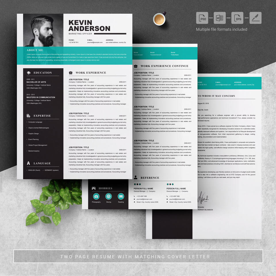 04 3 Pages Free Resume Design Template 2