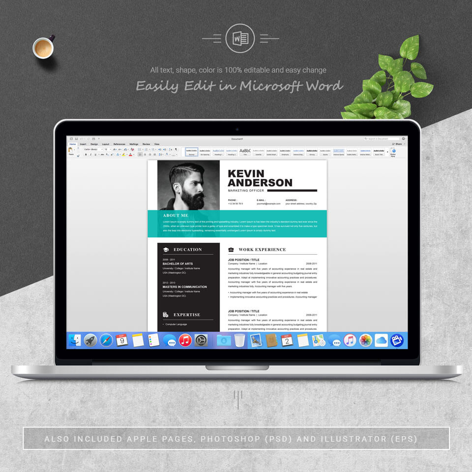 05 3 Pages Free Resume MS Word File Format Design Template.
