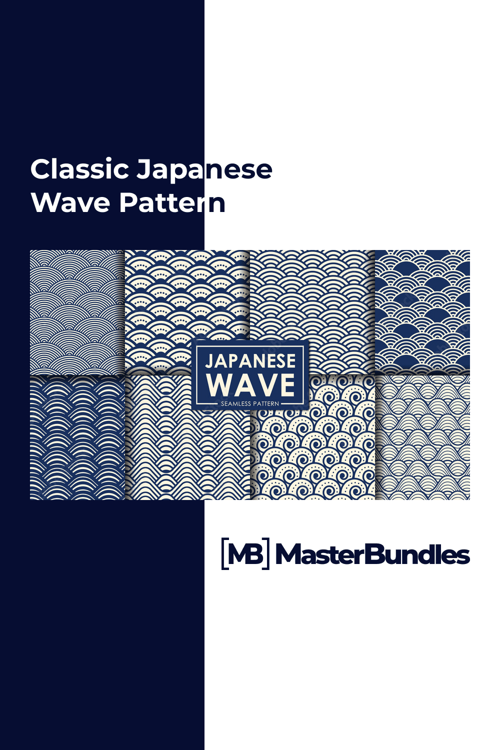Japanese wave in deep blue color with different variations.