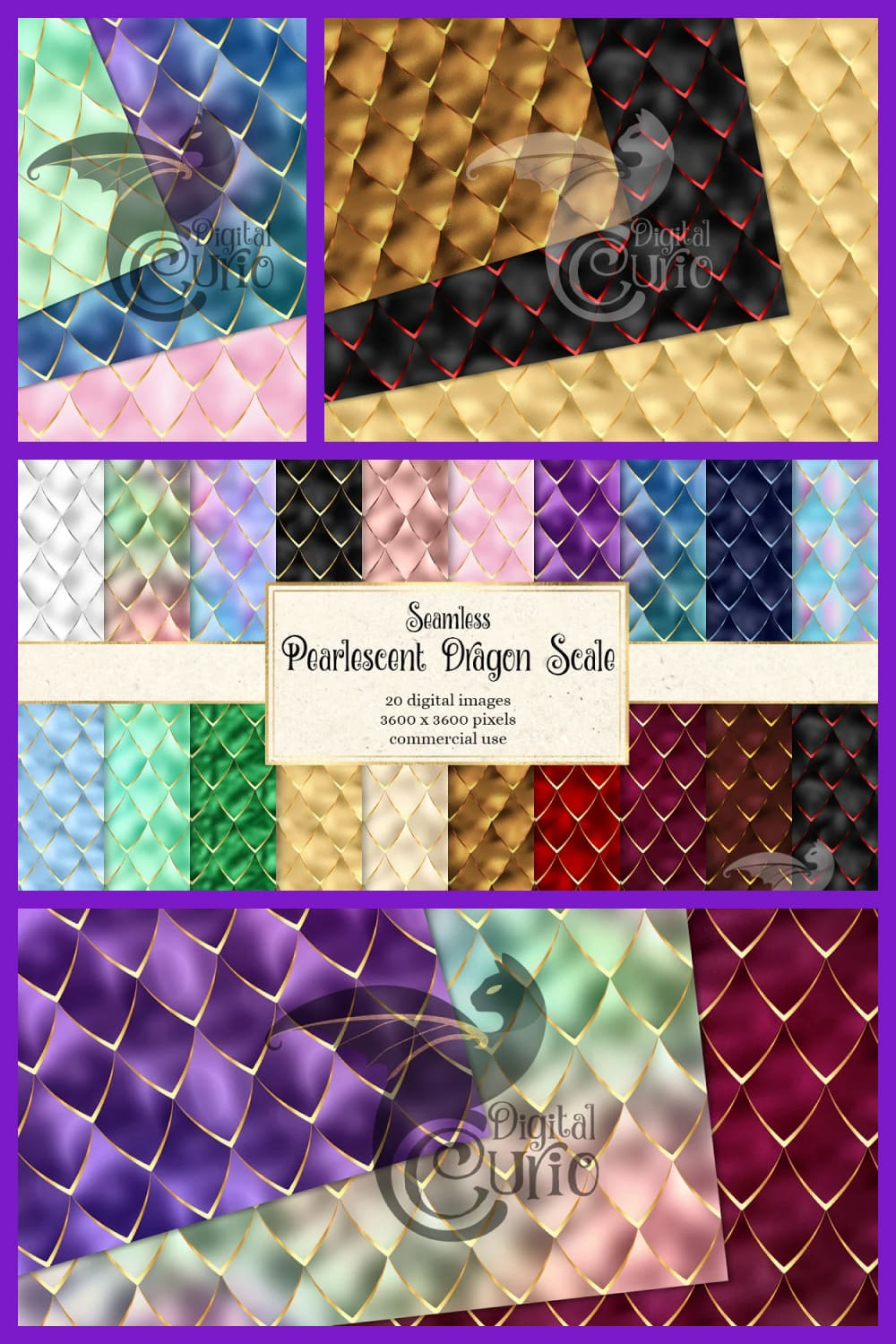 Pearlescent dragon scale in different colors.