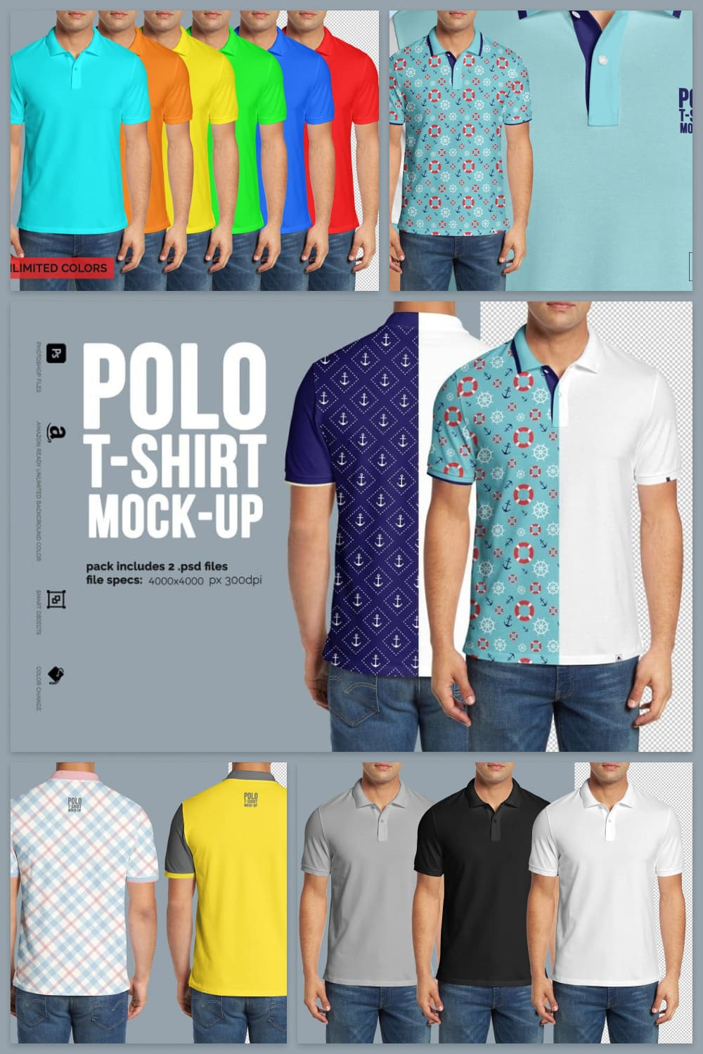 Polo shirts with ornament and without any graphics.