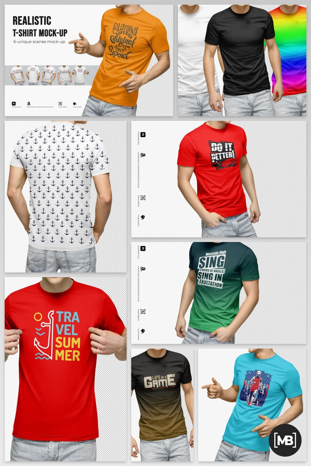Stylish T-shirts with a gradient and modern lettering.