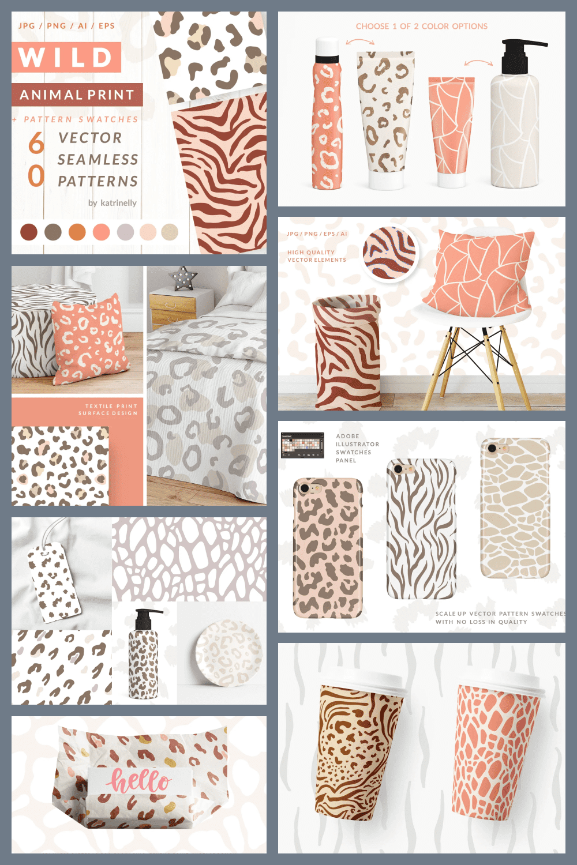 Wild animal print seamless pattern.