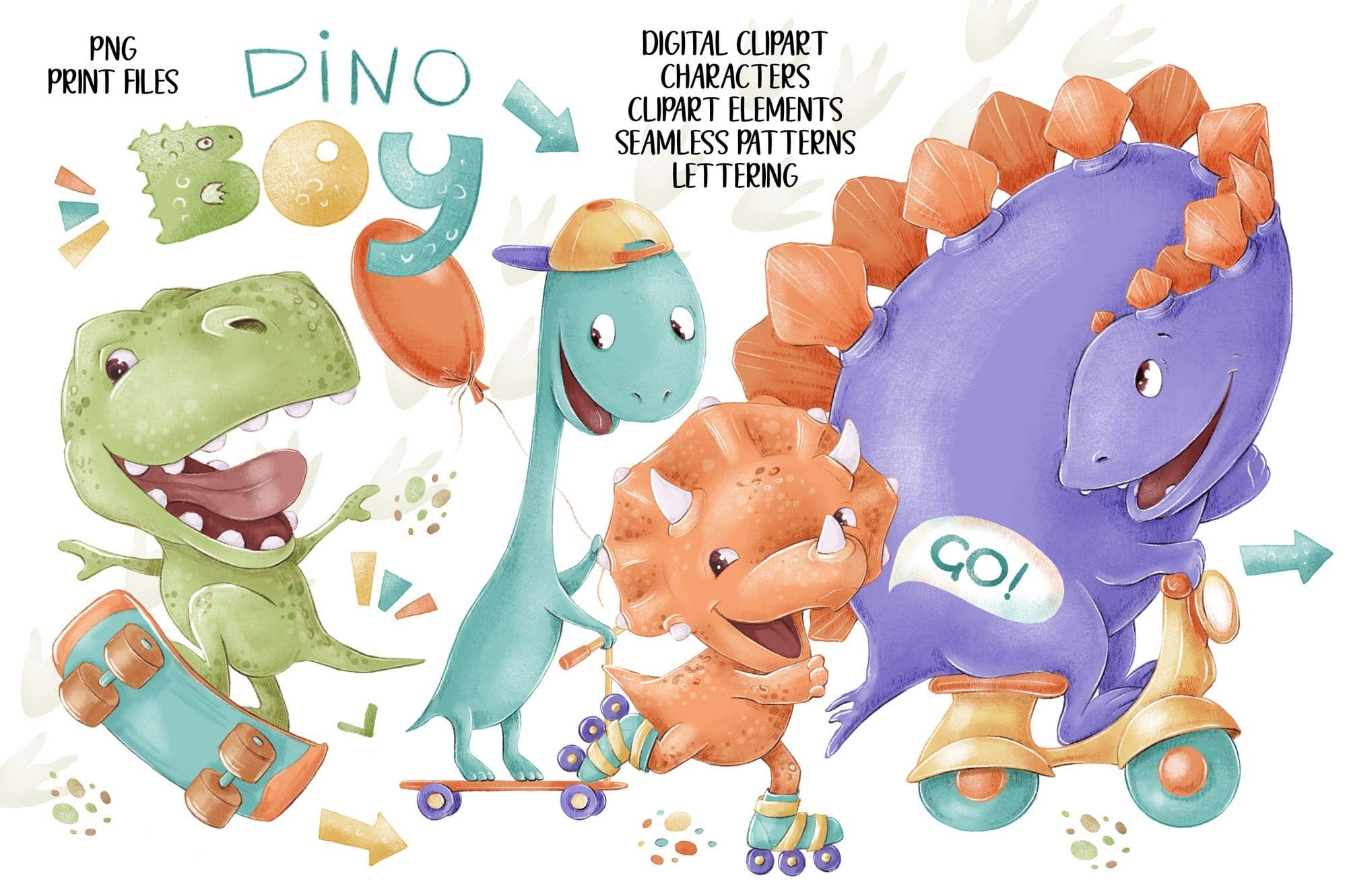 Dino Boys Clip Art Set.